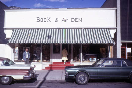 Author Brian Patton stands in front of the original Banff Book & Art Den, 1968.