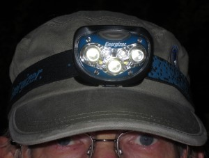 "Headlamps become more essential for hiking as the length of days wane in September. The author's ""good enough"" Energizer headlamp. Brian Patton selfie."