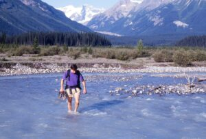 Conway Creek was a rather minor inconvenience on the hike over Howse Pass in 1993. Brian Patton photo.