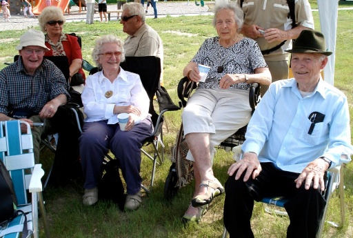 Aileen (second from right) with some of her mountain friends at the Conrad Kain Centennial celebrations in Wilmer, B.C. in 2009. Brian Patton photo.
