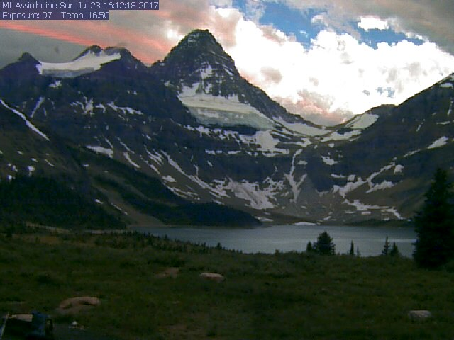 Mount Assiniboine was looking cool and clear Sunday afternoon, July 23, on the Mount Assiniboine Lodge webcam. But a weather system was predicted later in the evening along with gusty winds and lightning.