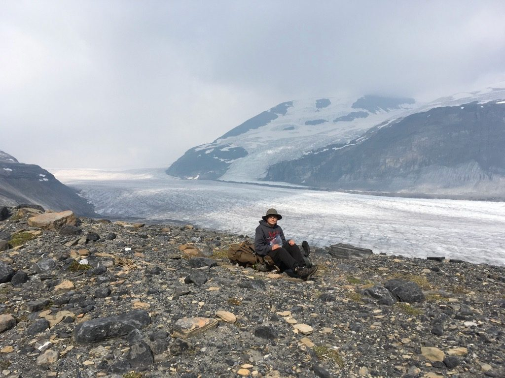 Overlooking the Saskatchewan Glacier from the pass at the northern edge of Castleguard Meadows. Gavin Fitch photo.