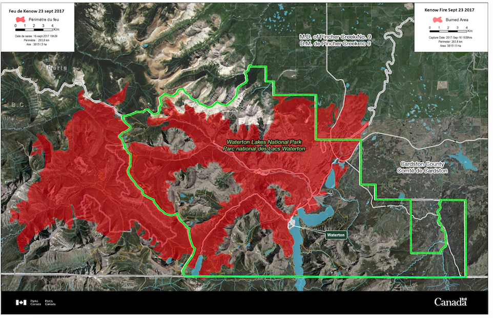 Park's Canada map assessing the damage to Waterton Park by the Kenow wildfire. Nearly all trails and valleys west of Upper Waterton Lake were burned to one extent or another. For a more detailed look at this map, link to Information Bulletins on the Waterton Lakes National Park website.